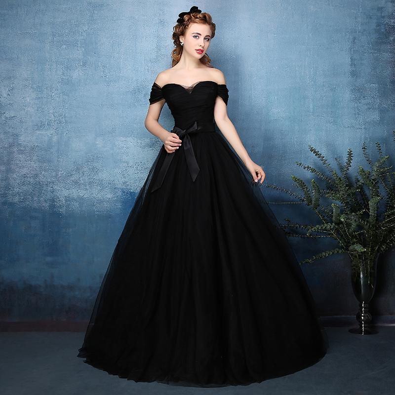 Wholesale 2016 New Bride Evening Dress Vintage Shoulder: 2016 Vintage Gothic Black Tulle Ball Gown Non White