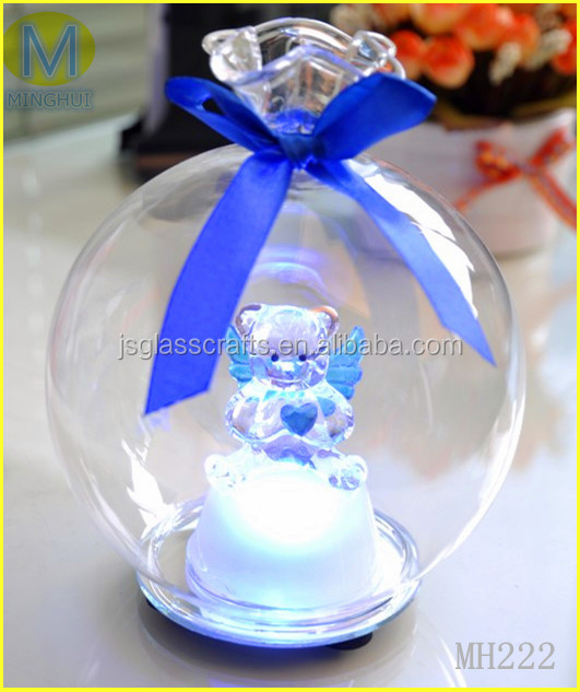 Hot selling clear murano glass ball with bear,angel inside for decoration