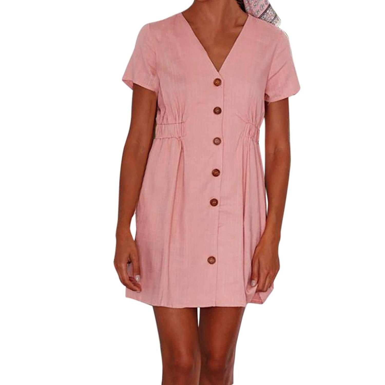 HTHJSCO Women's T-Shirt Dress, Women Ladies Short Sleeve Solid Casual Elasticity Waist Mini Dress with Button
