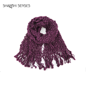 Knitted 100 acrylic women purple solid scarf winter from China