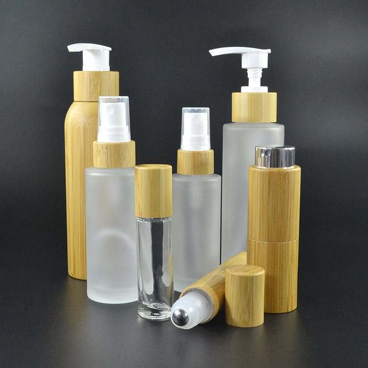 1oz 2oz PFB frosted clear bottle and jar with bamboo lotion pump disc top cap screw cap bamboo/wooden bottle