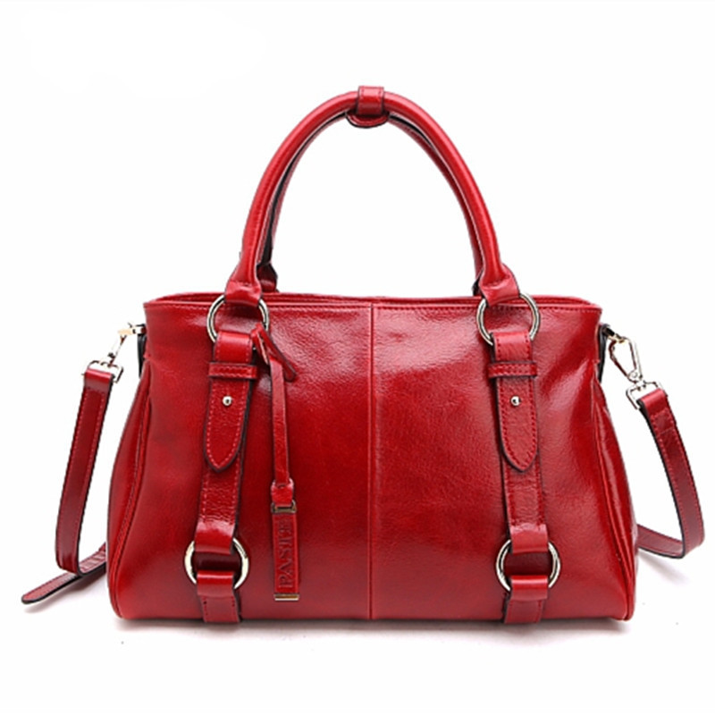 N brand Summer Genuine Leather Women messenger bags fashion large designer handbags ,Red Solid Oil wax Cowhide shoulder Totes