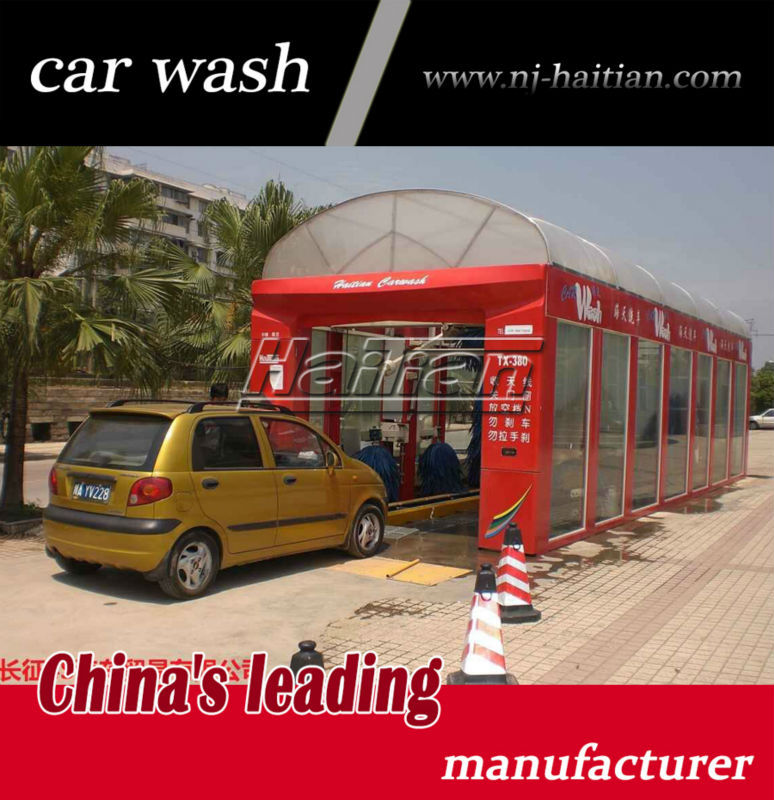 TX-380A tunnel car wash machine with 11 brushes and 4 movable dryer, SUV use automatic car wash machine