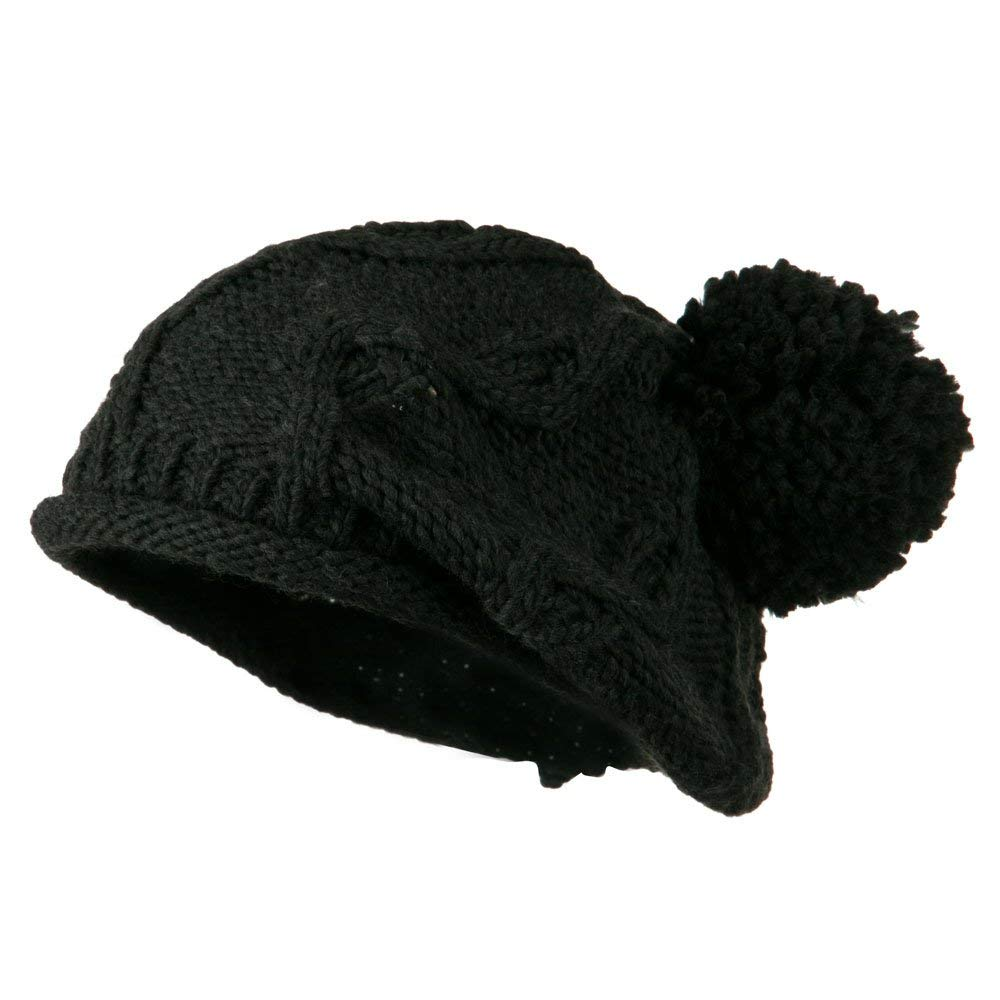 Knit Beret with Pom Pom - Charcoal W09S63F