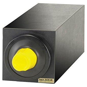 "San Jamar C2901 EZ-Fit Dimension Polystyrene Beverage Dispenser Cabinet with Black Trim Ring, 7-3/4"" Width x 7-3/4"" Height x 23-3/4"" Depth, Black"