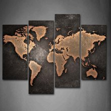 4 Pieces 벽 Art Canvas 인화 구닥다리 빈티지 추상 World Map Giclee Painting 대 한 홈 Office SchoolDecor