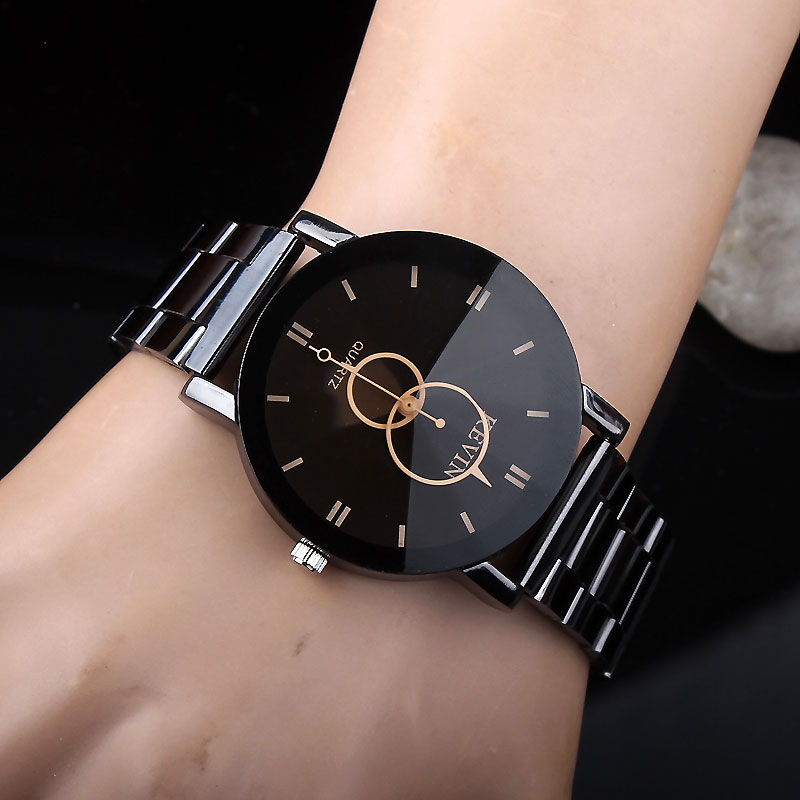 eed8a89d147 KEVIN New Design Women Watches Fashion Black Round Dial Stainless Steel  Band Quartz Wrist Watch Mens