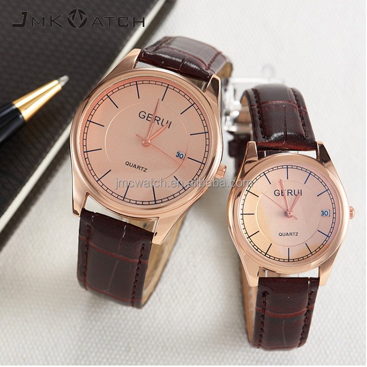 New design genuine leather straps japan movt quartz stainless steel watch with <strong>men</strong> or women