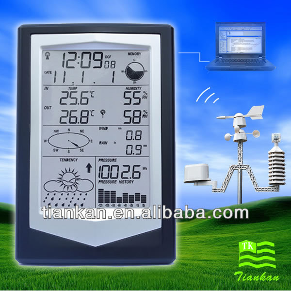 WS1040 New Design RF 433 MHz Digital wireless weather station with outdoor sensor and PC Connection