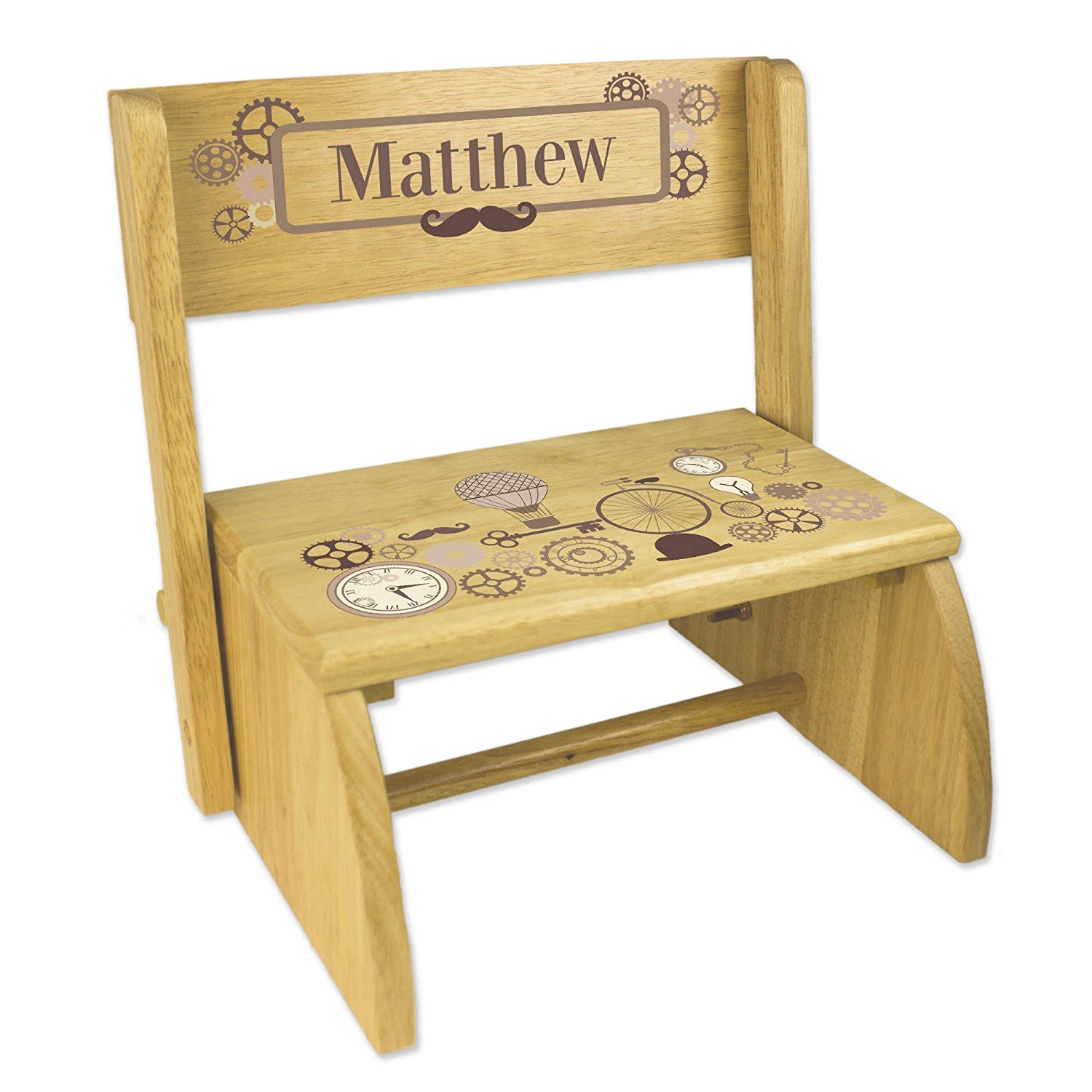 Personalized Steampunk Natural Wooden Folding Stool and Seat