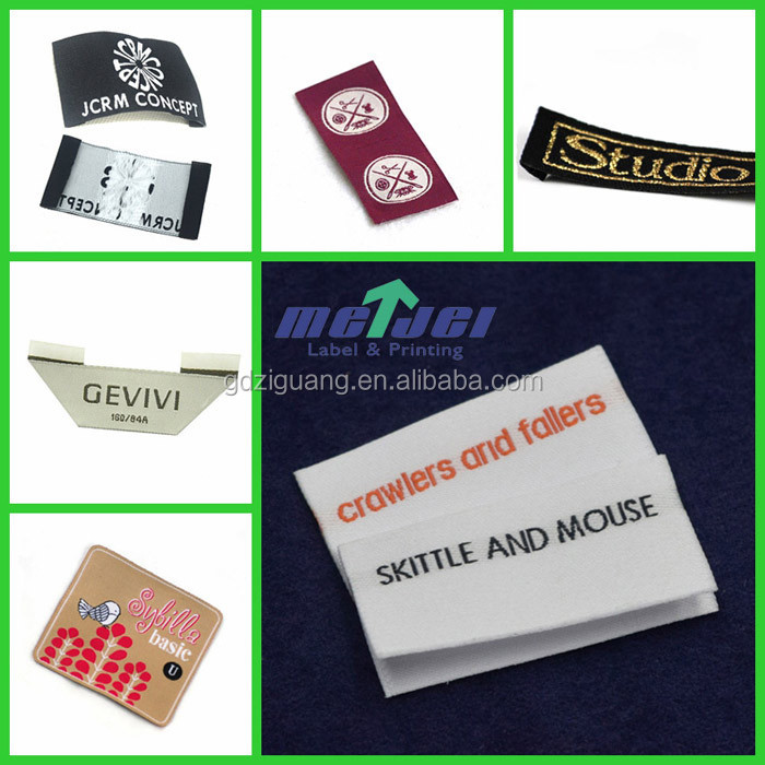 High Quality custom design woven label, end fold damask label for clothing