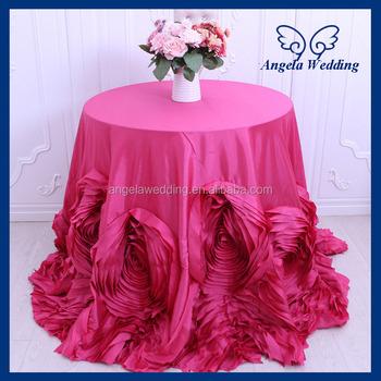 CL052Q Wholesale Luxious Expensive Christmas Elegant Wedding Hot Pink  Rosette Table Cloth
