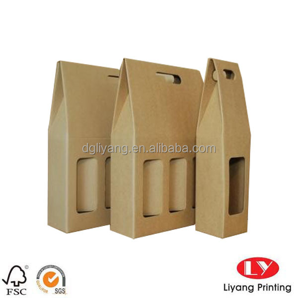 Kraft Paper Bag With Empty Window And Cut Handle For Single Wine Bottle Packaging
