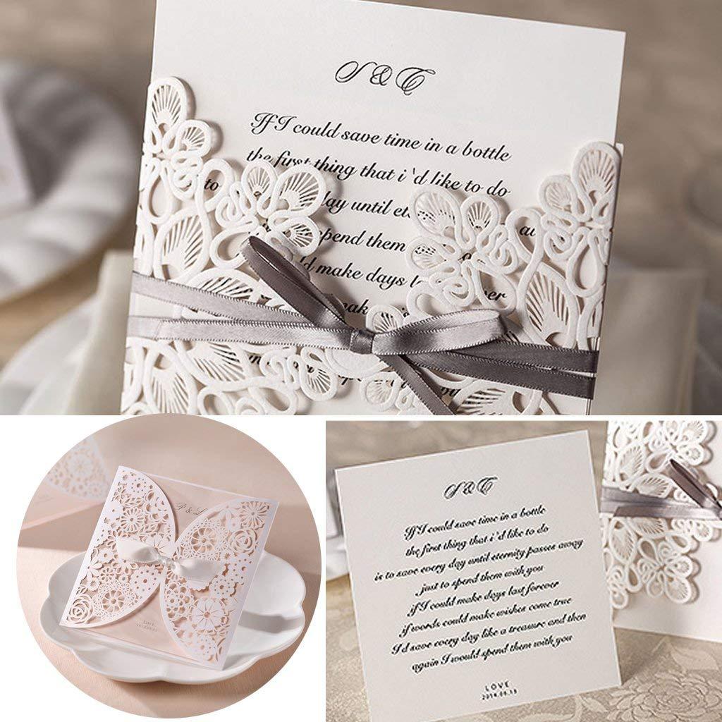 Amrka 10Pcs Wedding Invitation Cards Kit with Envelopes Seals Flower Personalized Printing (10Pcs)