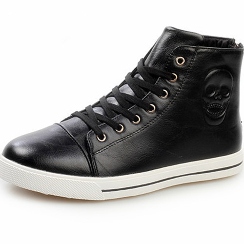 New 2015 Brand Sneakers For Men PU Spring Autumn Casual Fashion High Top Sneaker Breathable Massage Sapatos Masculinos Black