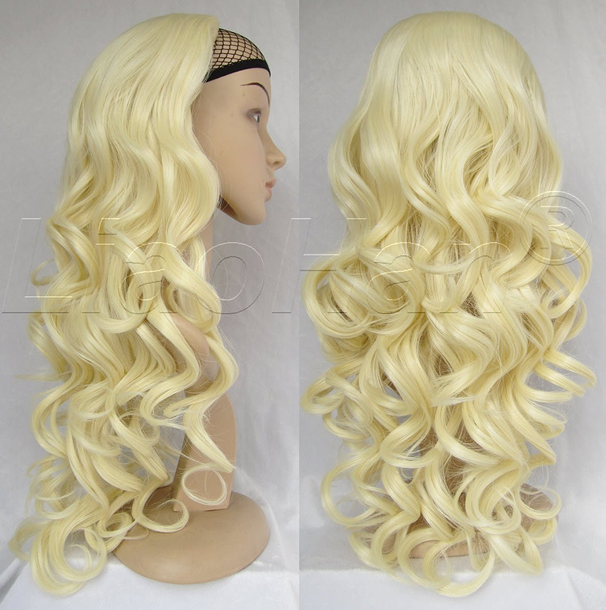 Buy Liaohan Bleach Blonde Wig Synthetic Half Wig Hair Fall Long