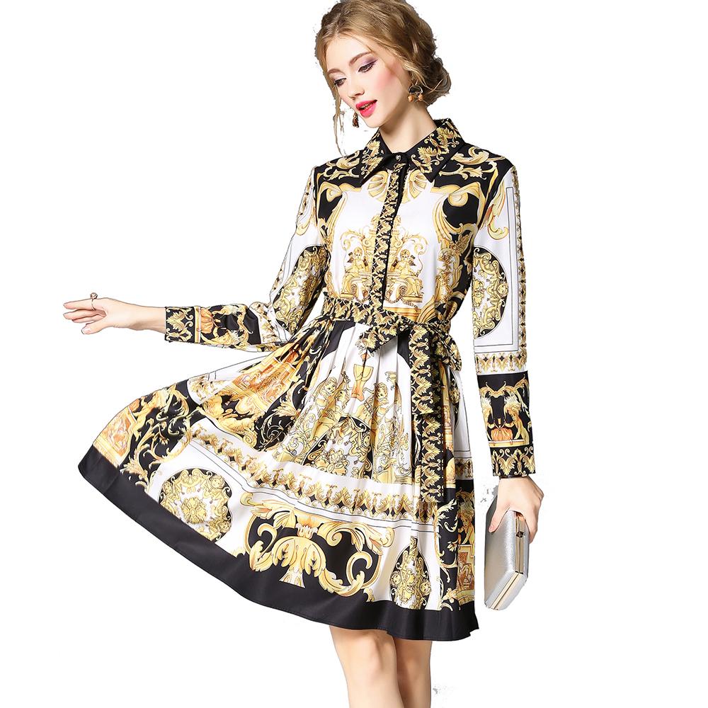 Wholesale Autumn Women Fashion M to XXL Turn Down Collar Button Front Long Sleeve Vintage Print Dress фото