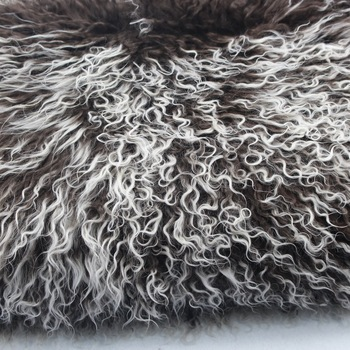 White Tips Brown Color Mongolian Fur Pelt Skin Plate Tibetan Lambskin Throw Consistent Hairs
