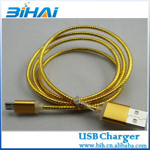 Colorful 1m Fabric Braided data Charger USB cable for IPHONE 5/Micro USB/iPHONE 4 Light LED CABLE thick Durable cable
