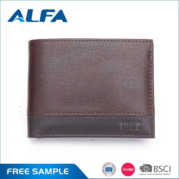 Alfa 2016 Hot Selling Newly Custom Best Branded Mens Credit Card Genuine Leather Wallet