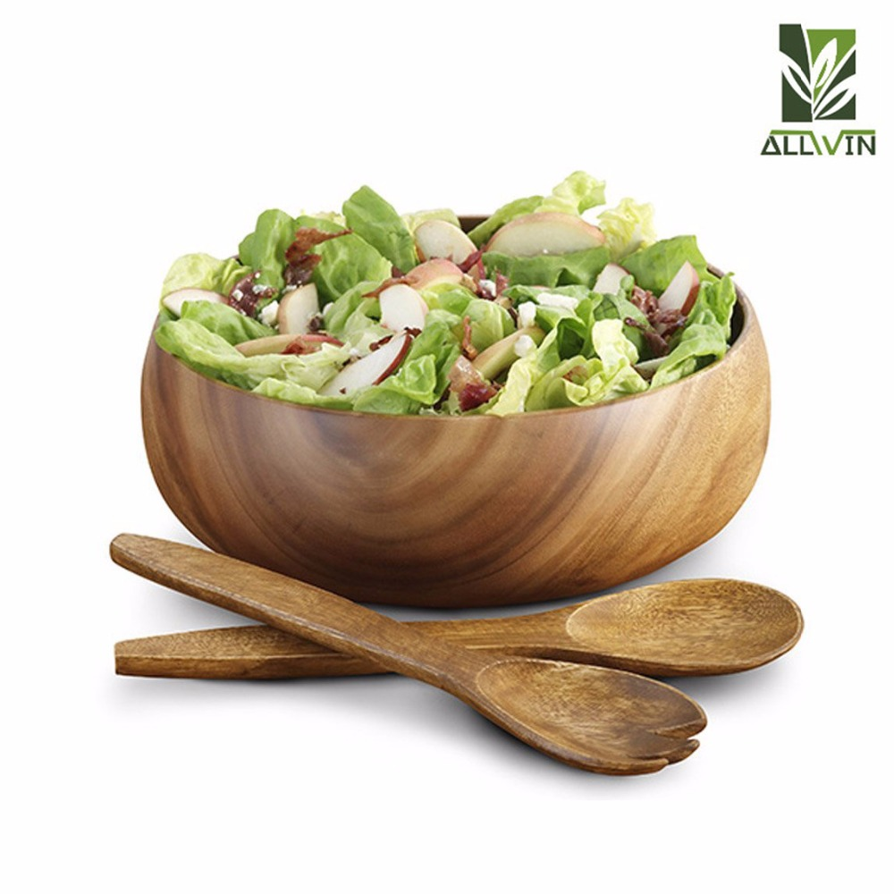 2018 Wholesale Salad Wooden Bowl Handmade Acacia Bowl