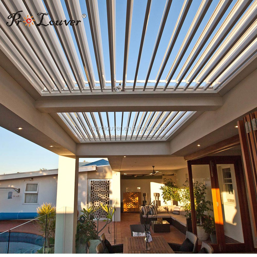 Motorized Pergola Roof Louver System - Buy Rain Sensor Opening Roof  Louver,Opening Roof Louver,Waterproof Sun Louver Product on Alibaba.com - Motorized Pergola Roof Louver System - Buy Rain Sensor Opening Roof