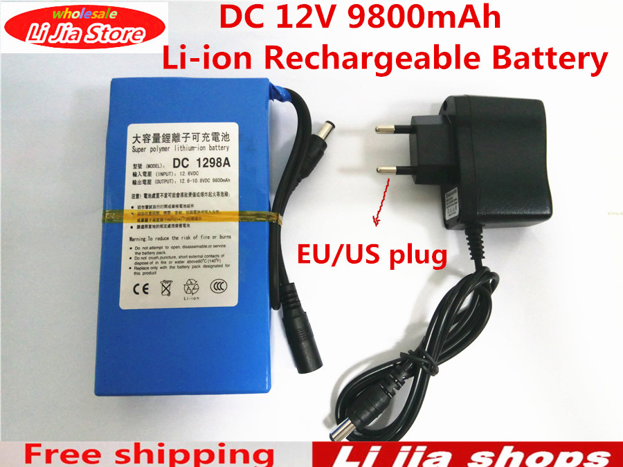 free ship lipo battery portable 9800mah dc 12v 12 6v super rechargeable pack eu us plug adaptor. Black Bedroom Furniture Sets. Home Design Ideas