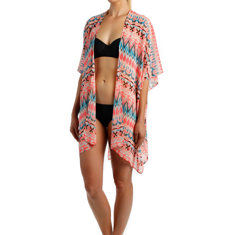 Special Swimwear Strappy Open Front Sheer Pueblo Kimono Short Sleeves Swim Open Swimsuit Wrap Cover Up