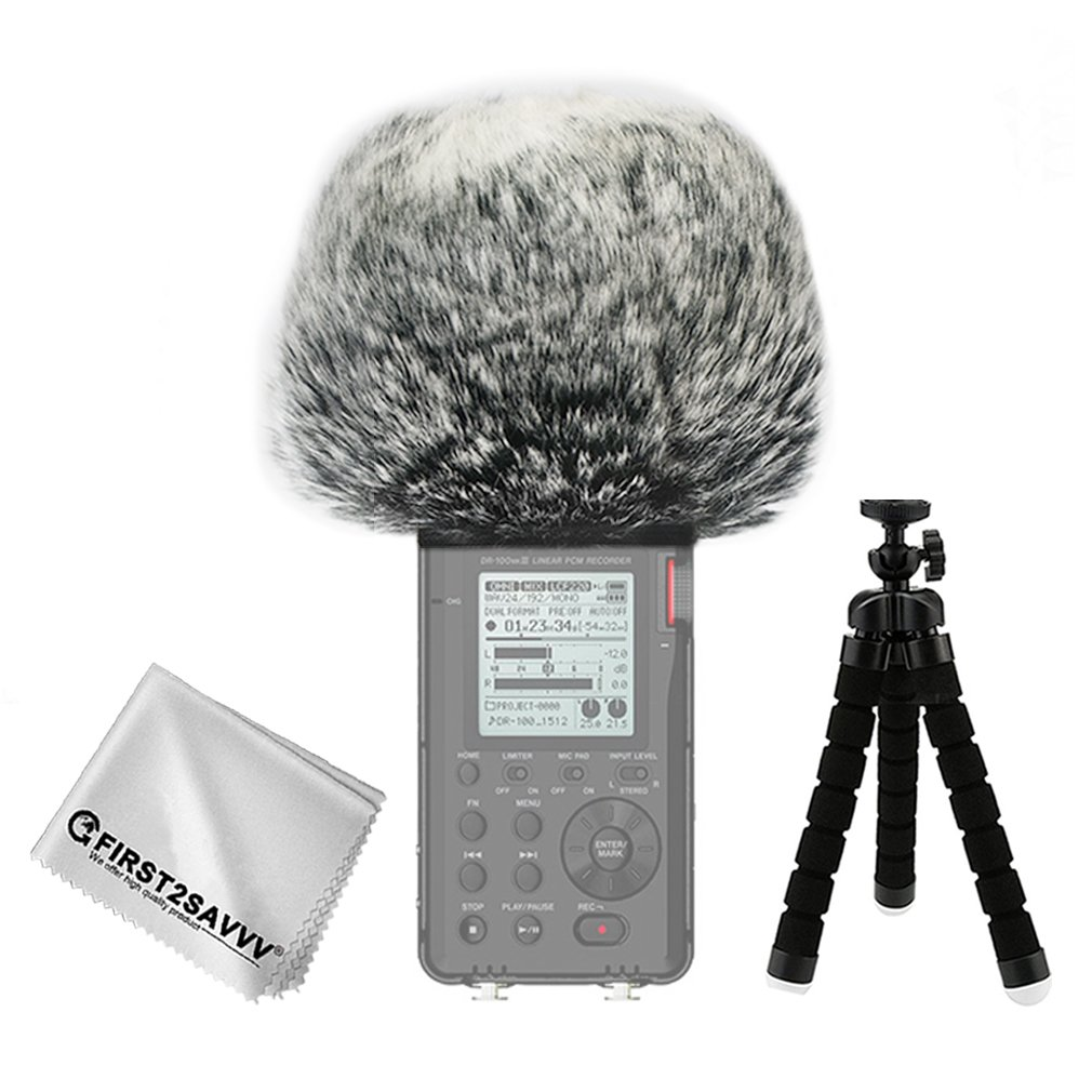 First2savvv Outdoor Portable Digital Recorders Furry Microphone Mic Windscreen Wind Muff for Tascam DR-100 MKIII DR100 MK3 + mini tripod + Suede cleaning cloth TM-DM-DR100MKIII-A01TZ3