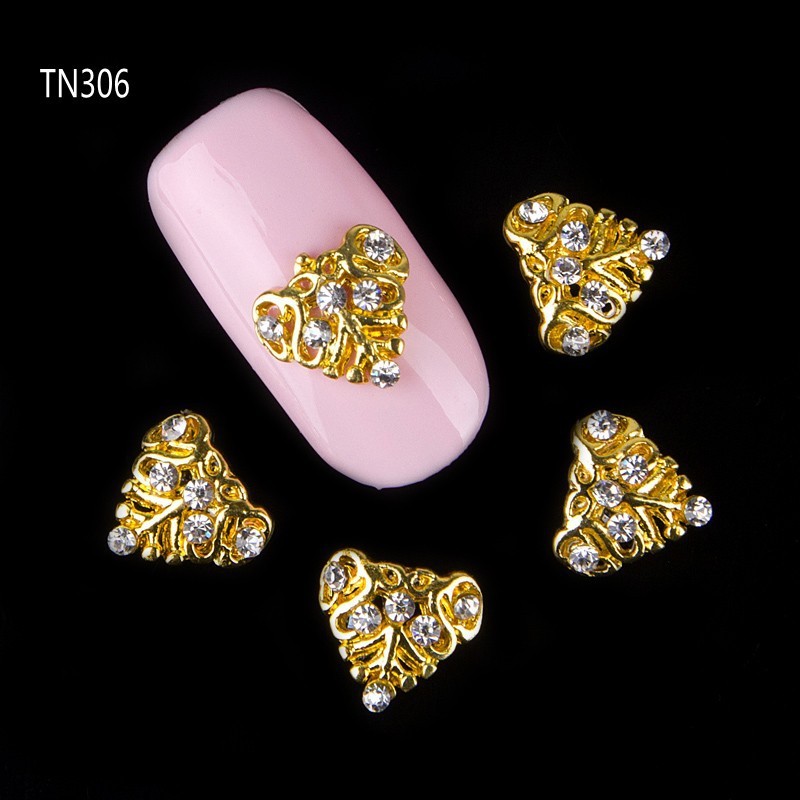 10pcs Golden Metal Heart Rhinestones 3d Nail Art Decorations Alloy Nail Stcikers Charms Jewelry for Nail