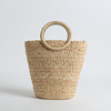 Ring hand-drawn Raffia bucket bag hand-woven straw bag for ladies