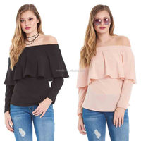 Chiffon Blouse Women Sexy Saree Blous Fashion Cheap Wholesale Custom Off the Shoulder Tops