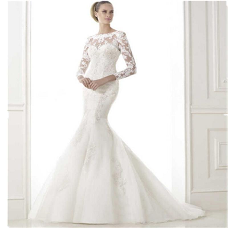 2015 New Elegant Full Long Sleeves Mermaid Wedding Dresses: 2016 New Arrival Mermaid Wedding Dress With Detachable