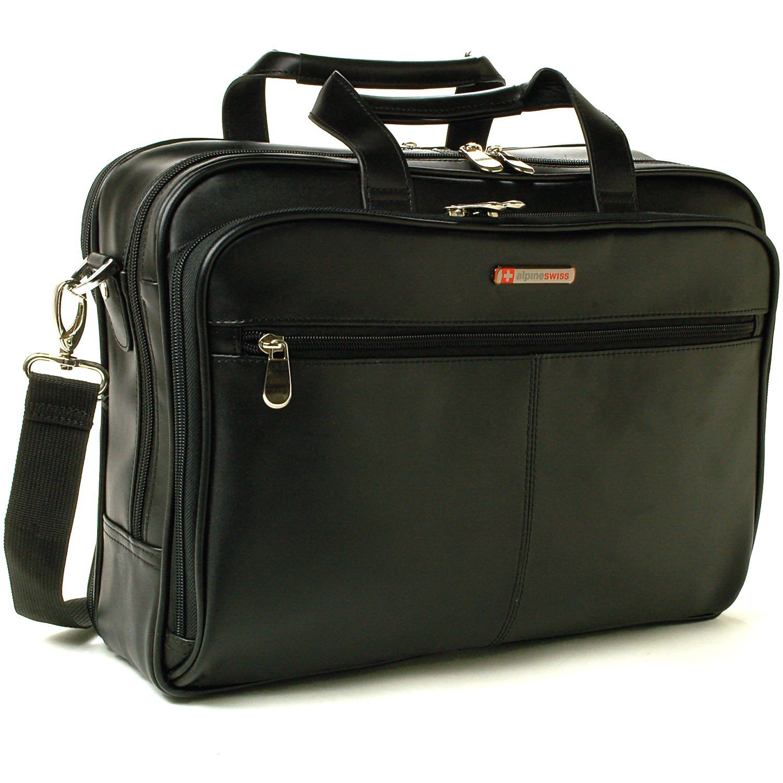 0d51ace29 Get Quotations · Alpine Swiss Monroe Leather Briefcase Top-Zip Laptop  Messenger Bag Black