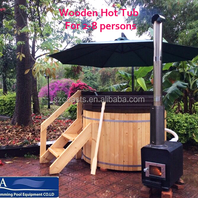 20 years outdoor round wood fired hot tub with stove for 28 persons