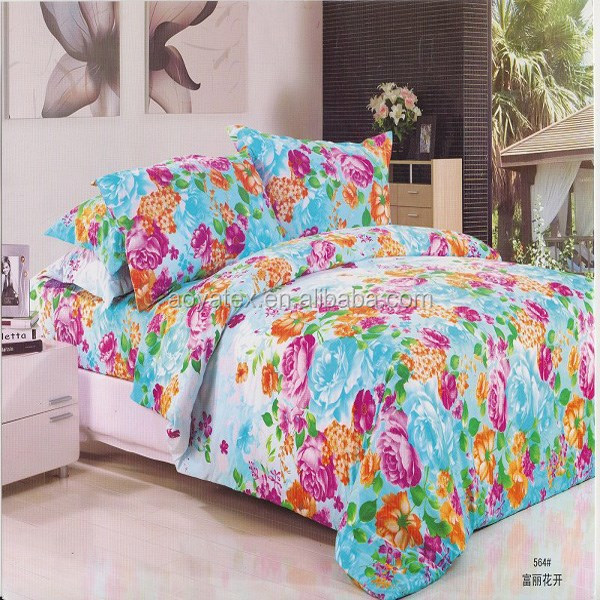 alibaba normal flowers style adult big size 75gsm 100% polyester microfiber bedsheet sets
