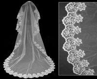 1T 2m White Elegant Lace Cathedral Wedding Bridal Bride Lace Veil free shipping