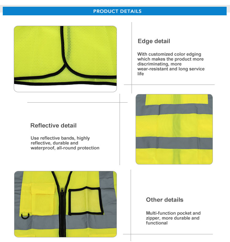 Polyester Drawn Textured Yarn Yellow Reflective Warning Outdoor Running  Reflective Safety Vest
