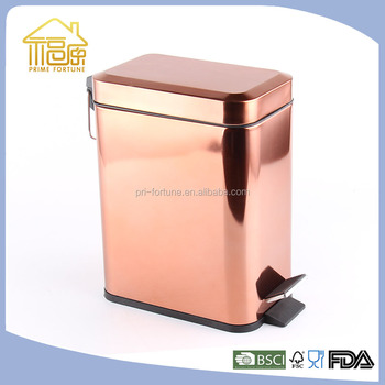Exceptionnel Chrome/Golden/Copper Square Trash Can/Pedal Bin With Plastic Inner Bucket