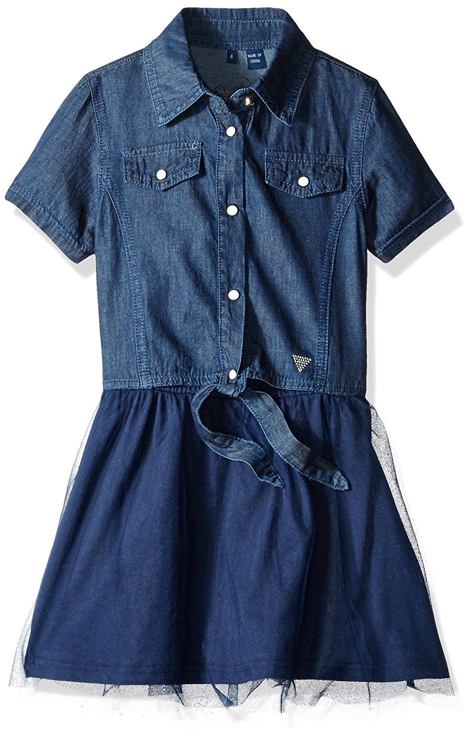 GUESS Little Girls' Denim with Tulle Dress
