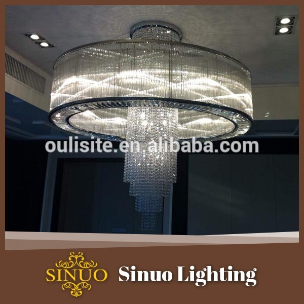 Hotel luxury modern fancy antique stainless steel body finishing crystal large pendant lamps