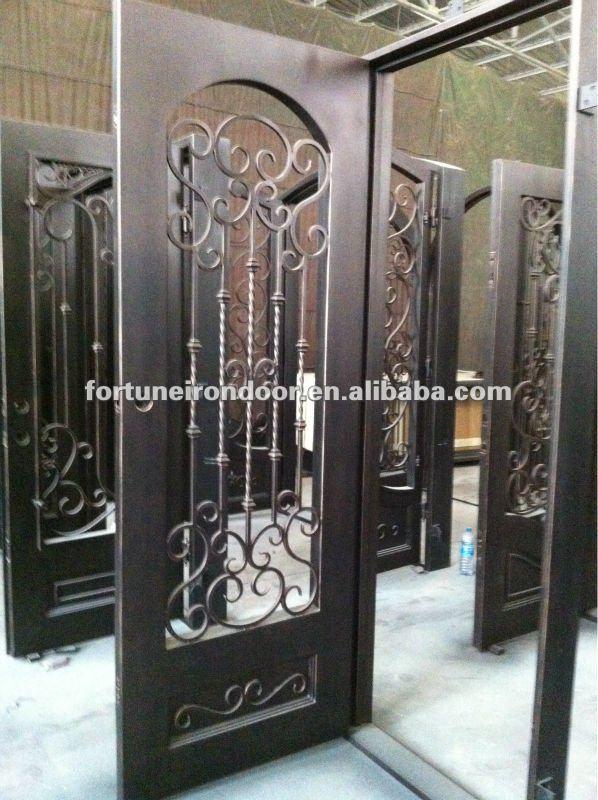 Columpio decorativo panel de ventana de la puerta de for Puertas de hierro forjado para exteriores