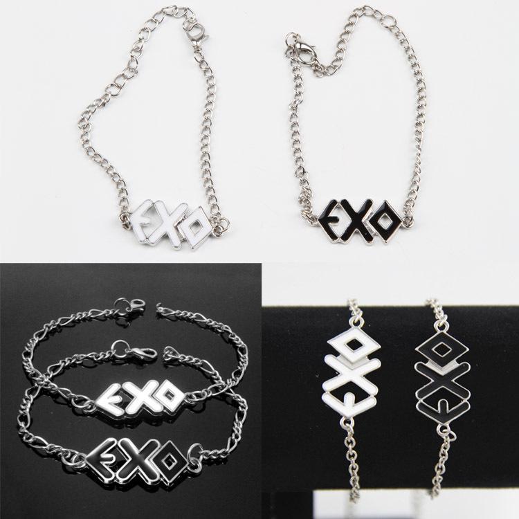 Мода EXO веревка манжеты браслеты браслеты любители браслеты тонкой черный белый 2 цвета прямая поставка BL-0082