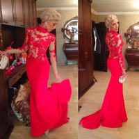 2017 fishtail prom dress Red Lace High Neck Mermaid Satin Sheer Nude Sexy Evening Dresses