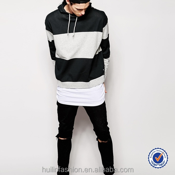 100 cotton mens hoodies sweatshirt used block stripe melange