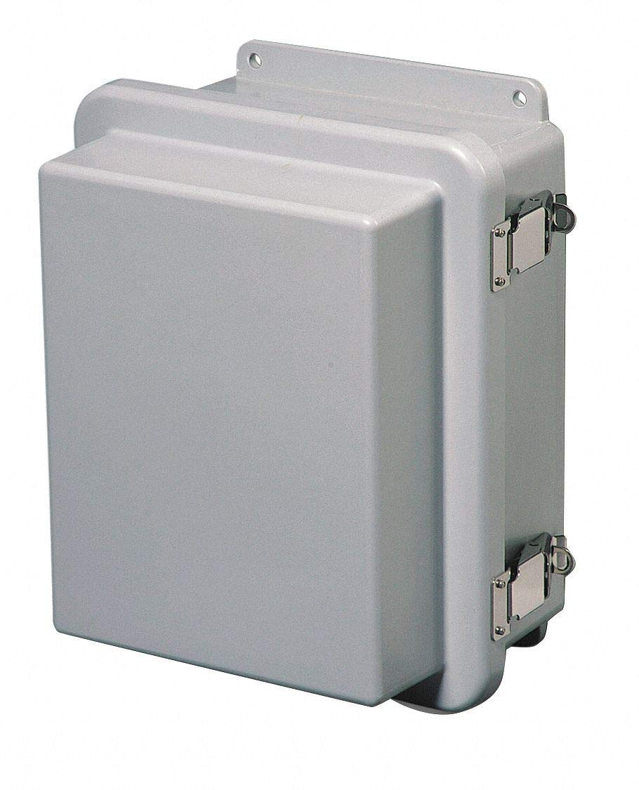 "14""H x 12""W x 8""D Non-Metallic Enclosure, Light Gray, Knockouts: No, Padlockable Latch Closure Metho"