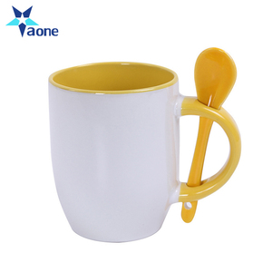 Colorful Custom Promotional Cheap Logo Printed Ceramic Mug With Spoon Wholesale In Stock