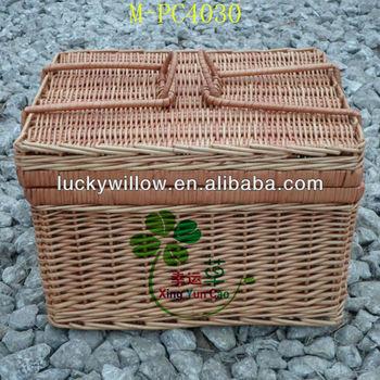 Empty wicker picnic hamper & willow woven gift basket