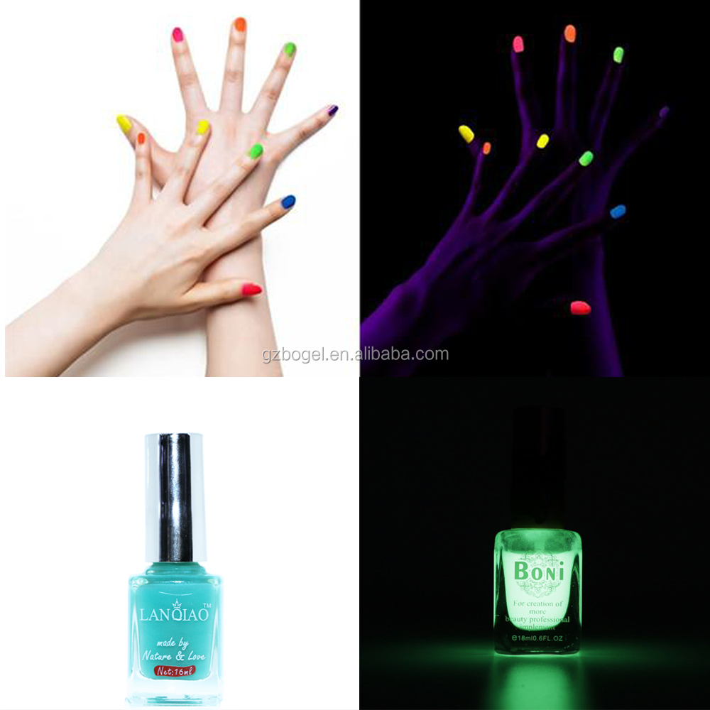 Fashion Candy Color Luminous Nail Polish Light Glow in Dark Nail polish Art For Beauty Fluorescent Pigment Nail Polish