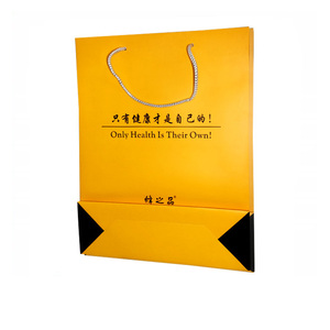 wholesale reusable brown gold color shoe recycle packaging c2s coated paper bags shopping with handle